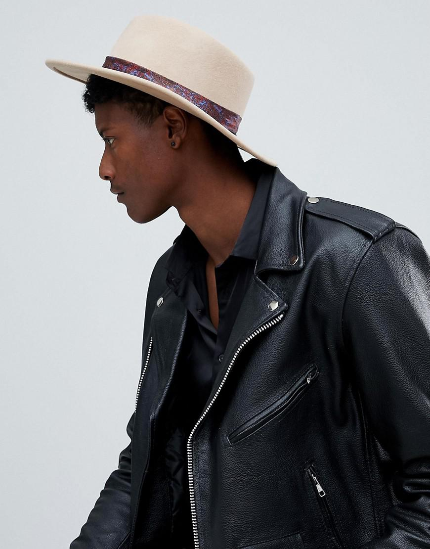 5725714d293 Asos Wide Brim Pork Pie Hat In Camel With Paisley Band for Men - Lyst