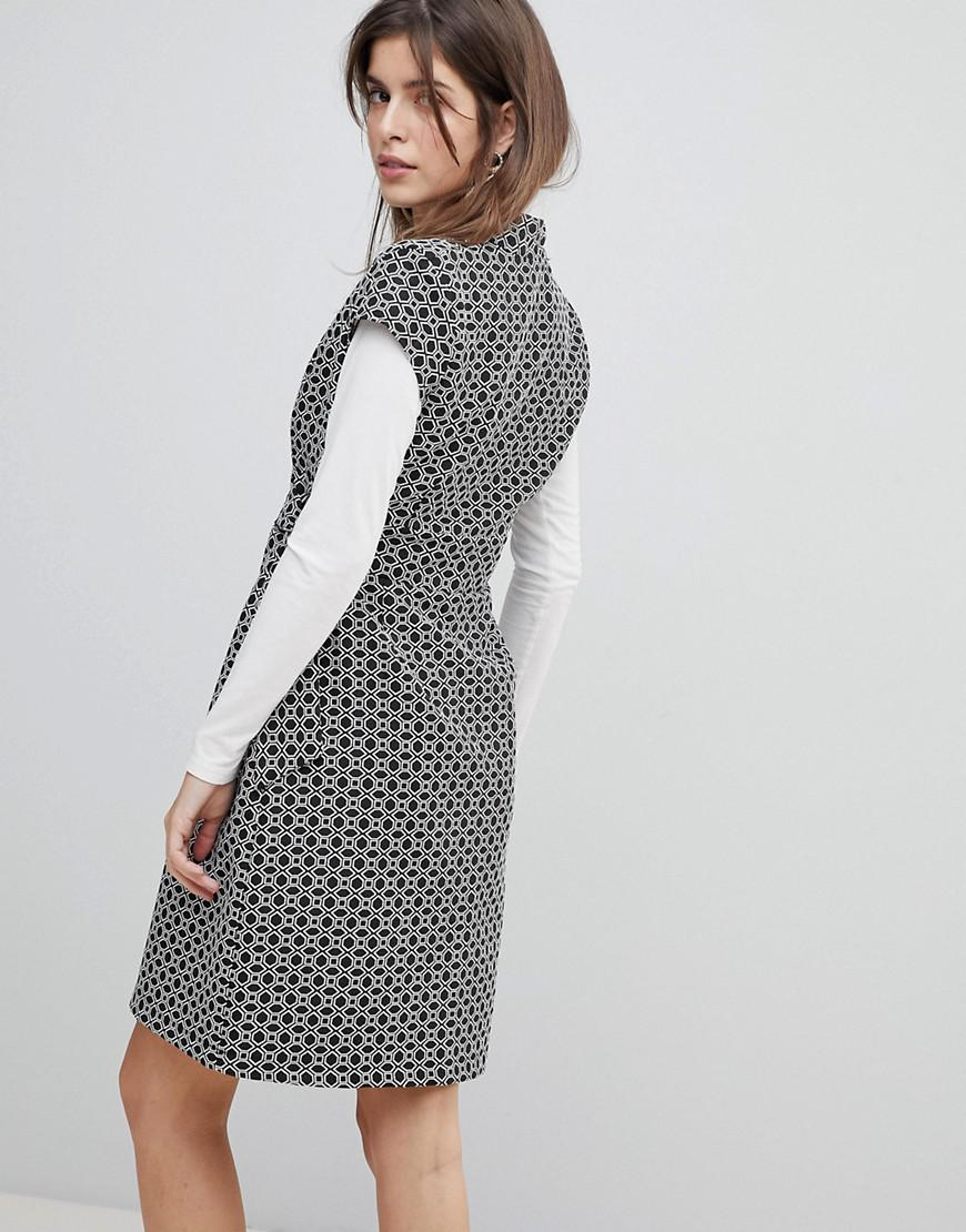 Cap Sleeve Check Dress With D-Ring And Attached Belt - Black and white Liquorish 77vO9PV