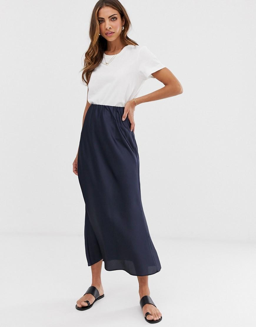 a5e3ae47f4c52 ASOS Bias Cut Satin Slip Midi Skirt in Blue - Lyst