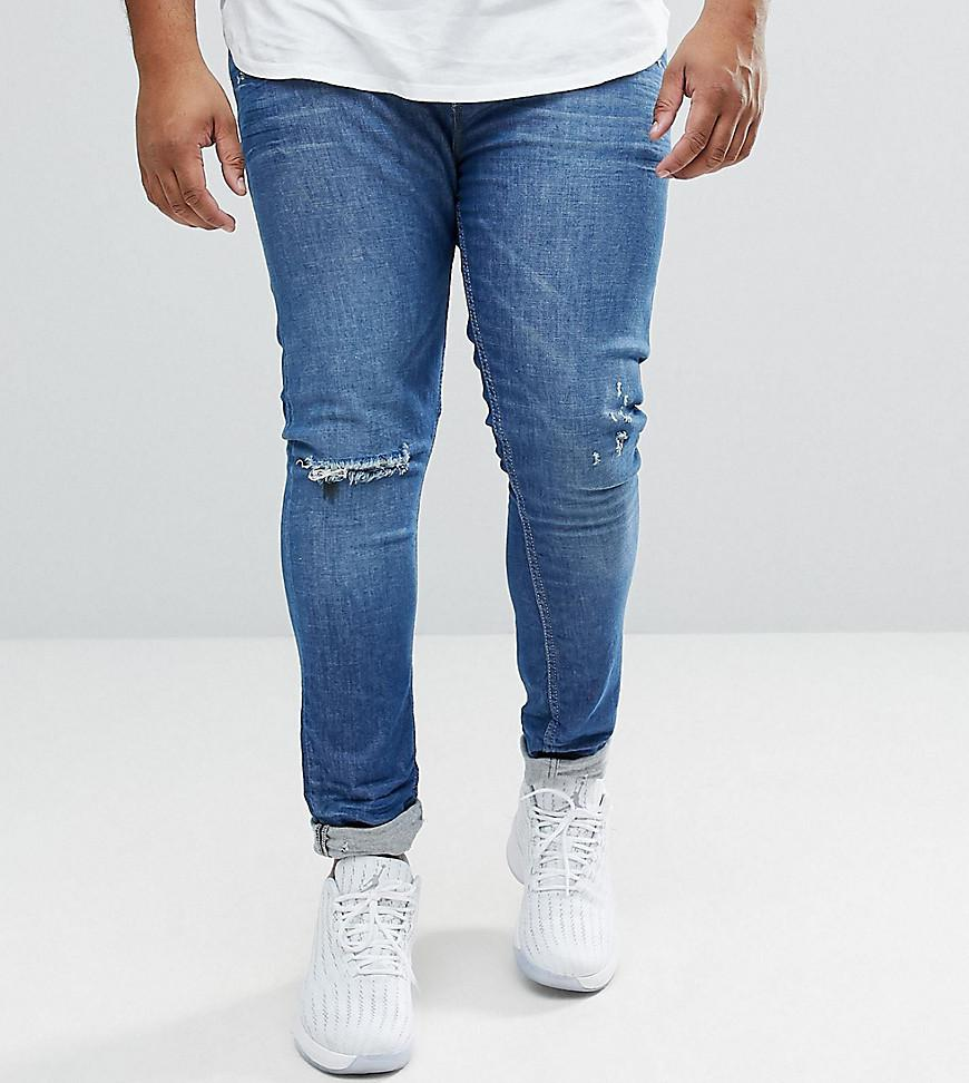 PLUS Super Skinny Jeans In Mid Wash Blue With Extreme Rips - Mid wash blue Asos ynfoeOB4a