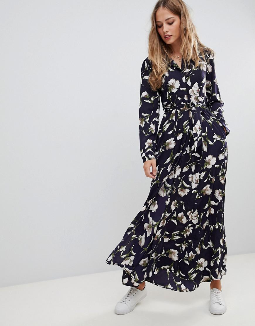 00e4a4028d3a2 Liquorish - Blue Floral Print Maxi Shirt Dress - Lyst. View fullscreen