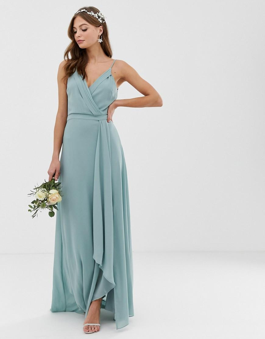 a1a71f04ad Lyst - TFNC London Bridesmaid Exclusive Cami Wrap Maxi Dress With ...