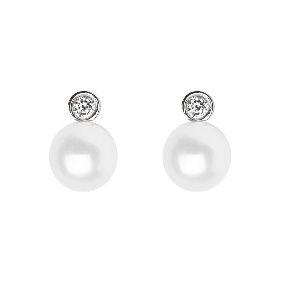 88b97220013350 Aspinal of London. Women's Bridal March Diamond & Pearl Stud Earrings