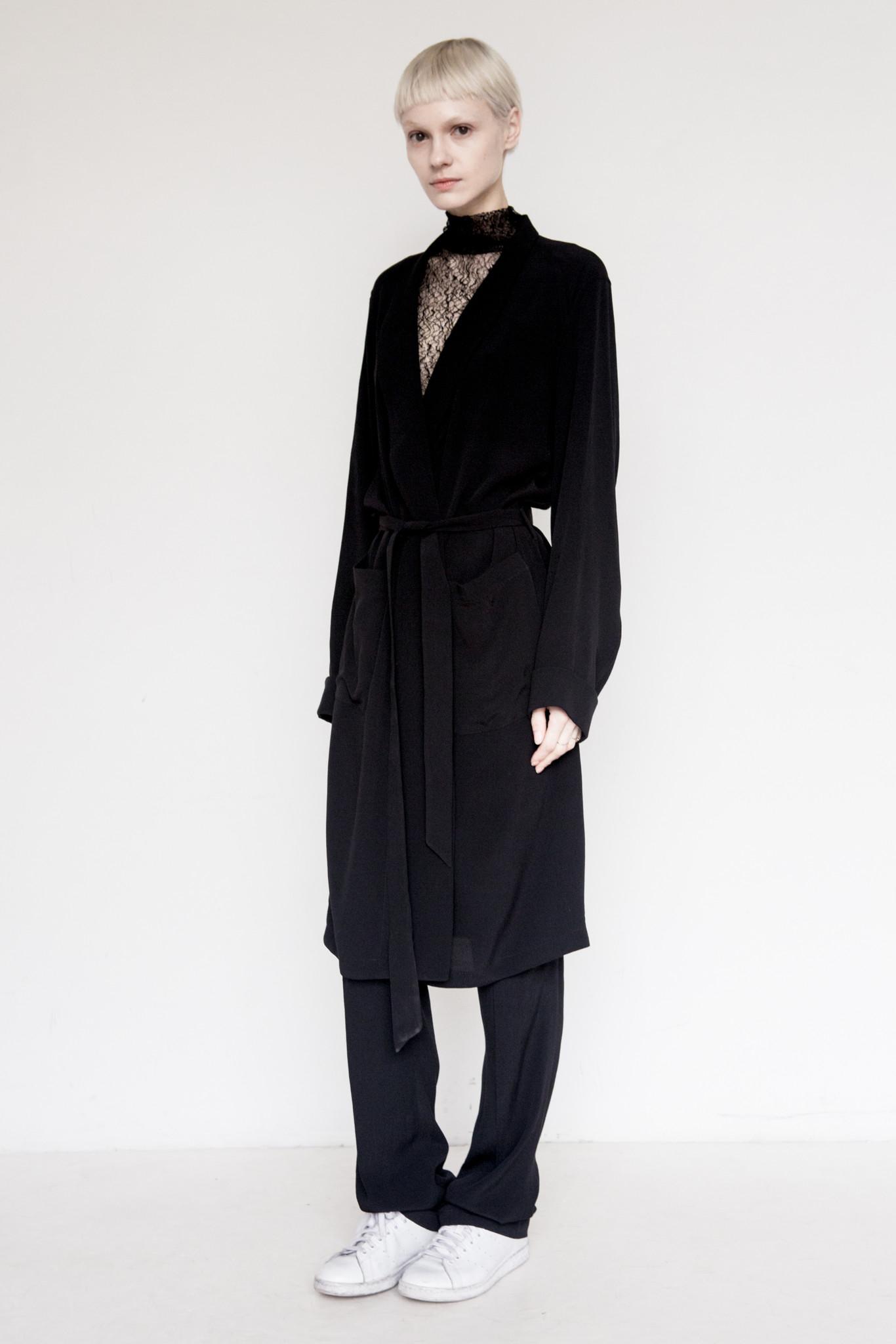 david michael tencel og robe in black lyst With robe tencel