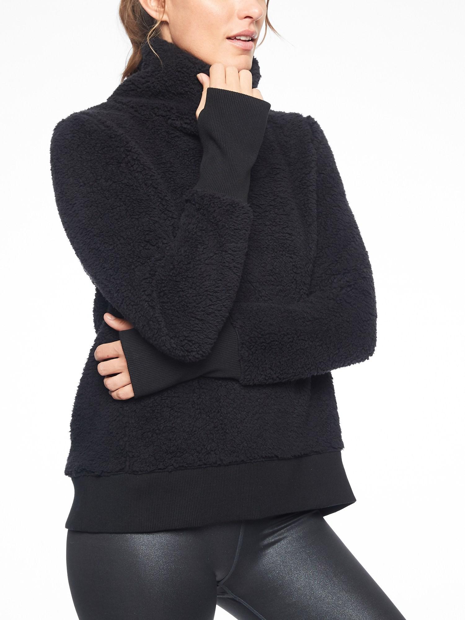 127a7f9cf3b56 Lyst - Athleta Nirvana Sherpa Funnel Neck Sweatshirt in Black