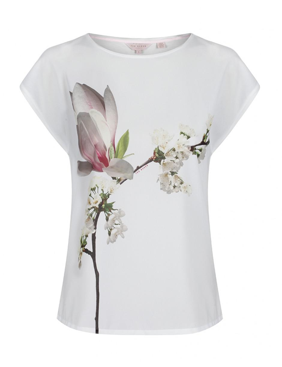 3df935ef8cbe73 Ted Baker Women's Tiza Harmony Woven Front T-shirt in White - Lyst