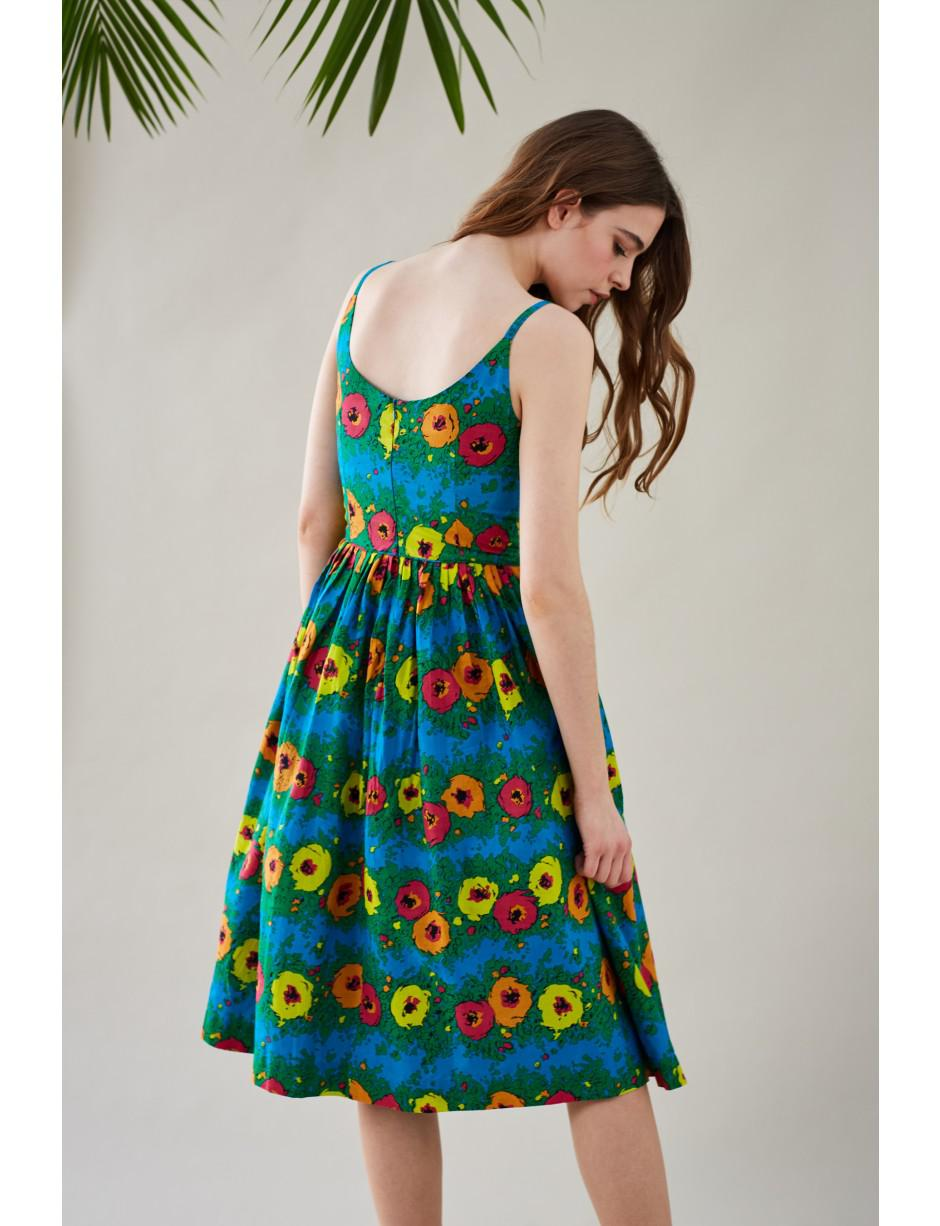 2a0f1b1e4fb0 Lyst - Emily and Fin Enid Bright Floral Pleated Summer Dress in Blue