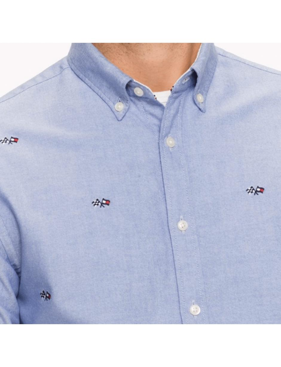 b0c33428b21b35 Lyst - Tommy Hilfiger Race Flag Embroidery Shirt in Blue for Men