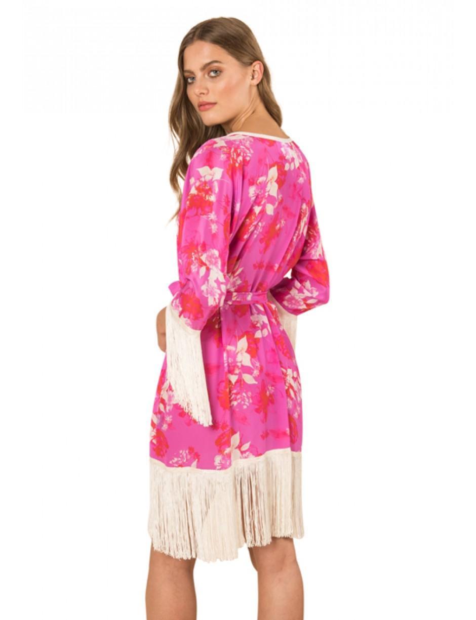 c0f4d75ff Athena Procopiou Melrose Sunset Short Silk Kimono With Fringes in ...