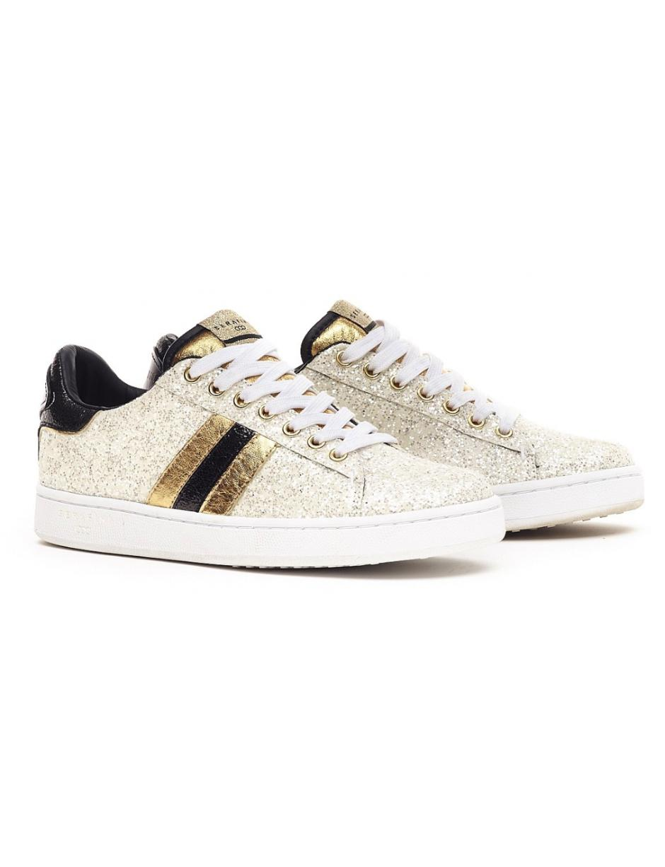 99112193d79 Atterley Serafini J.connors White Glitter And Gold Leather Trainers ...