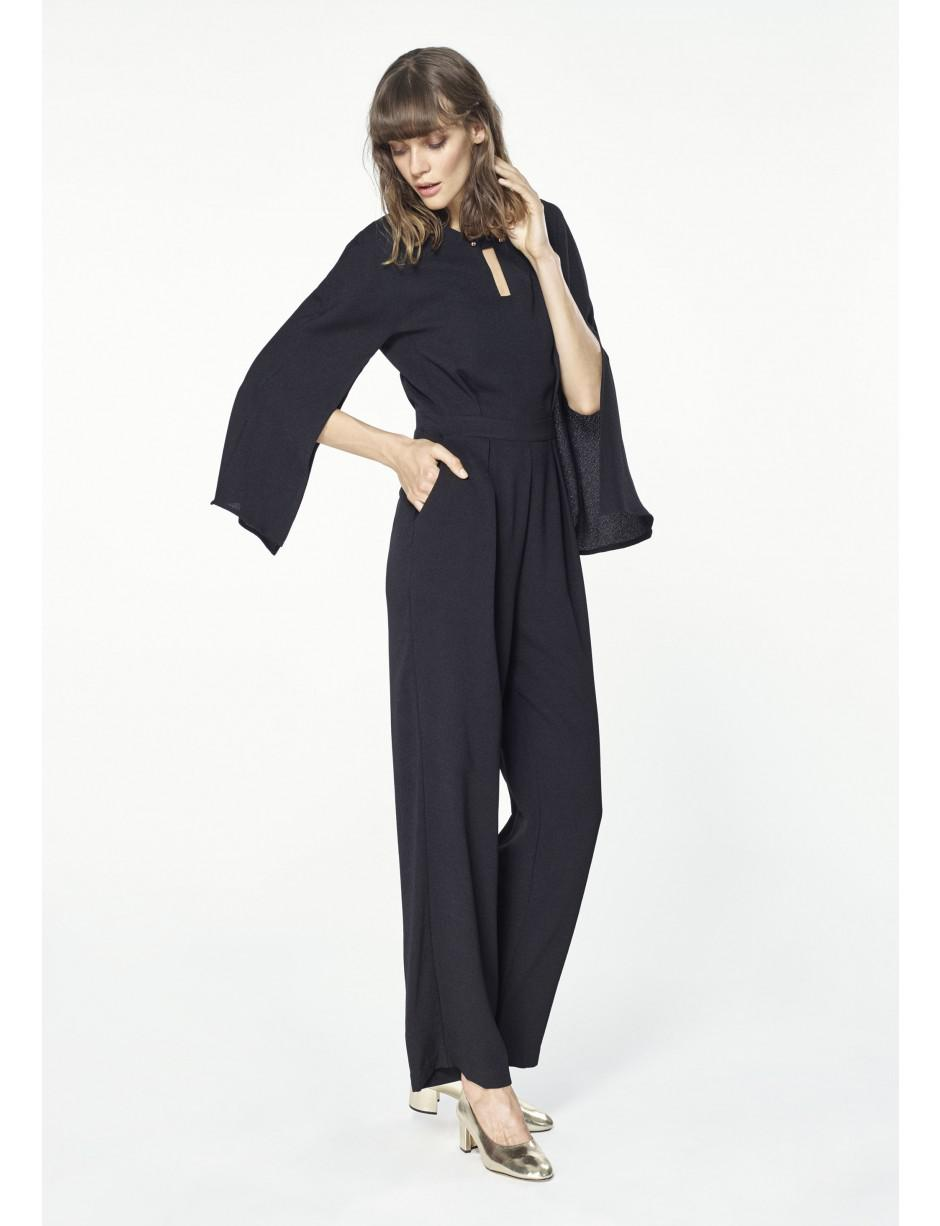 Paisie Jumpsuit With Cape Sleeves In Black In Black Lyst