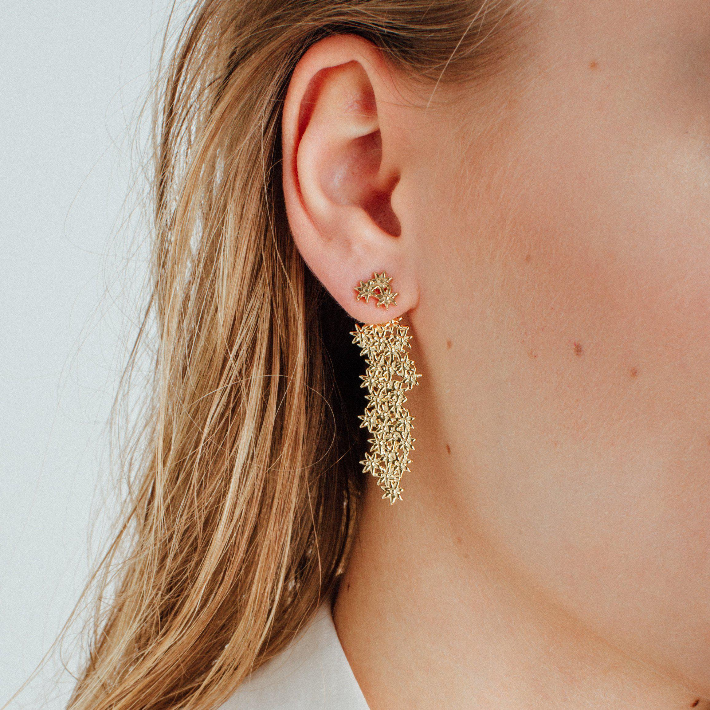 large gold p pink stud and flower earrings nude