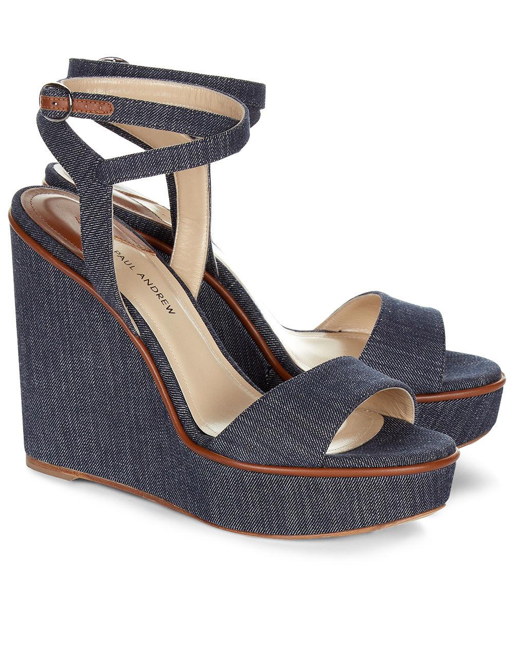 paul andrew indigo denim wedge sandals in blue lyst