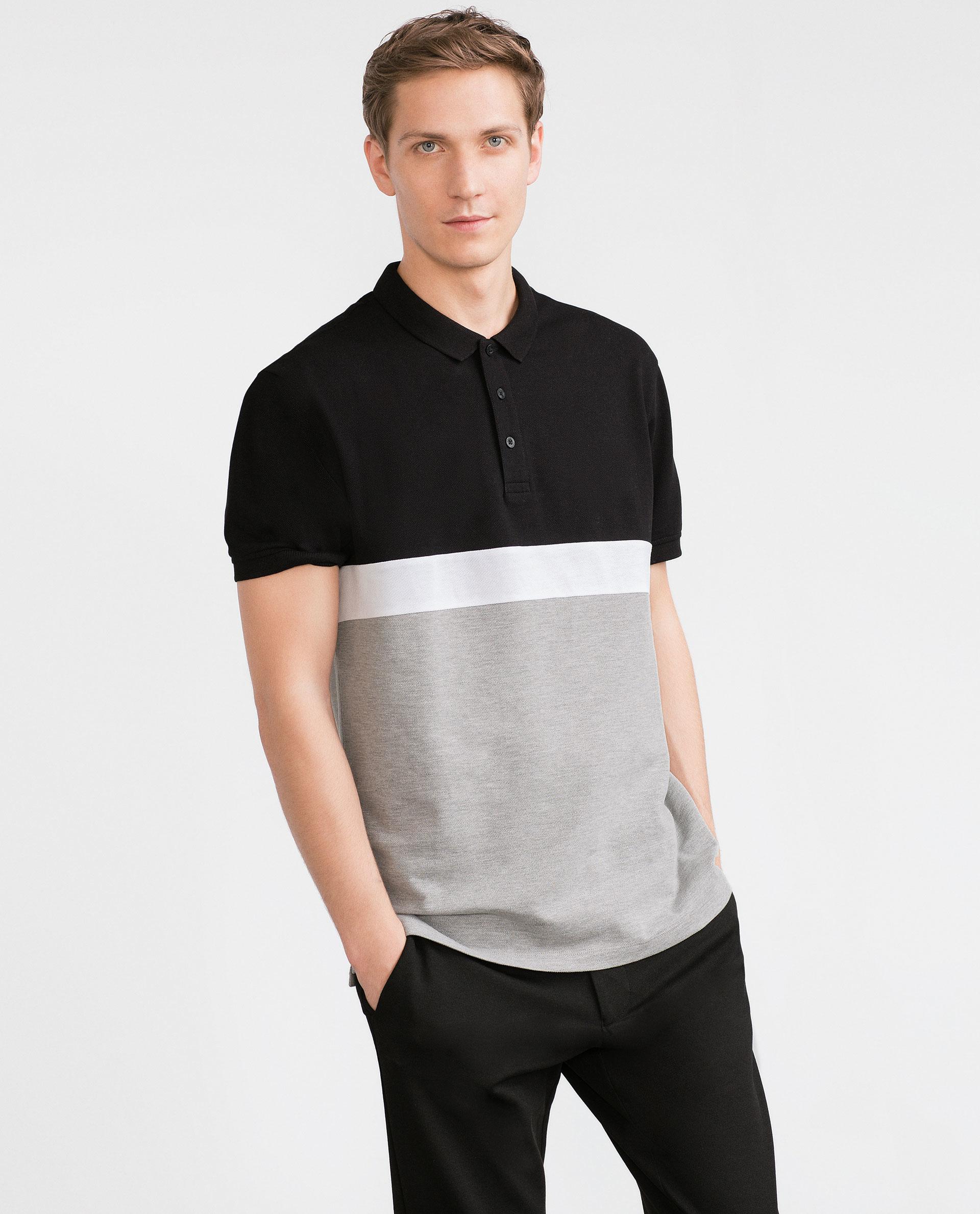 Zara piqu polo shirt in black for men lyst for Zara mens shirts sale