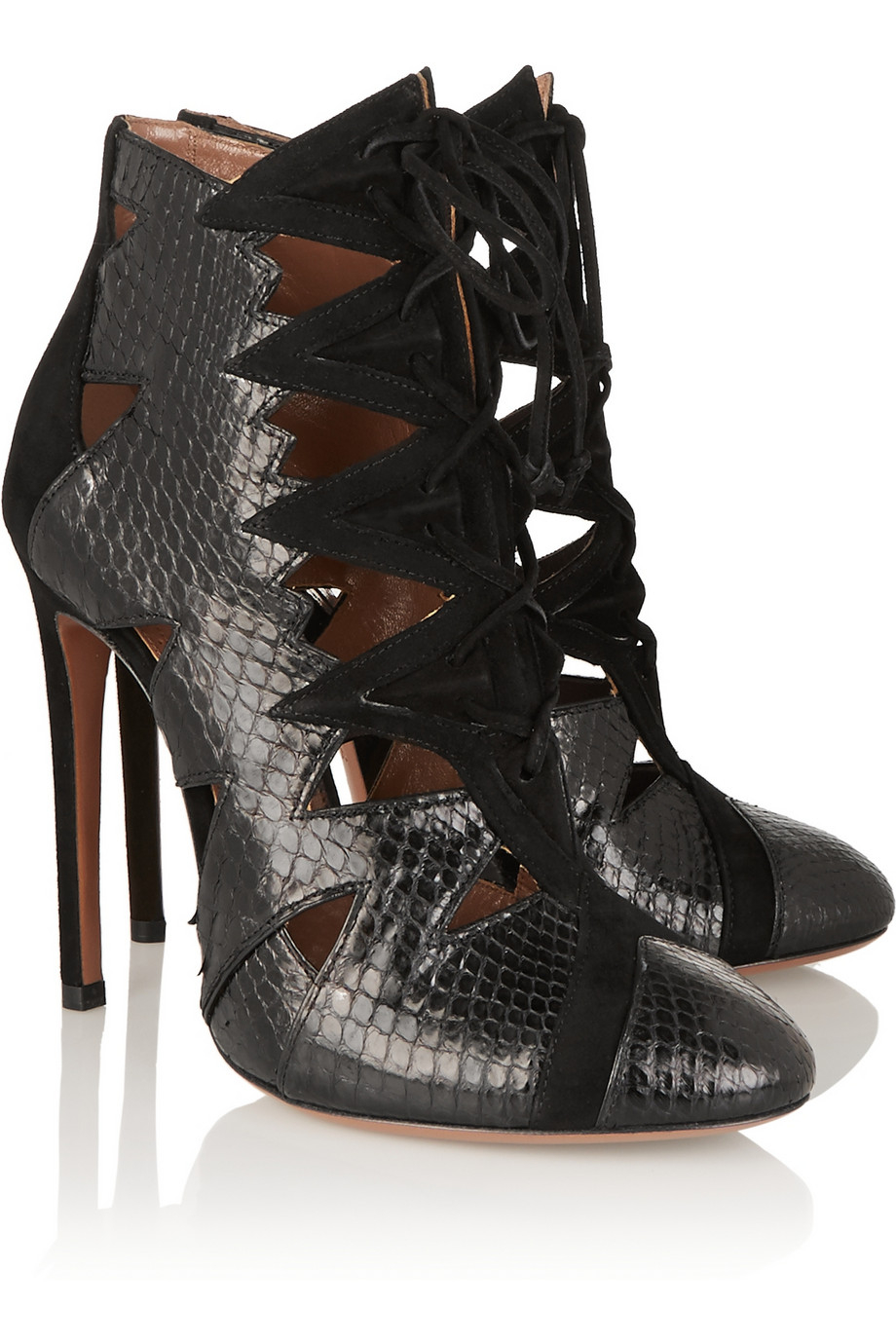 Ala 239 A Cutout Python And Suede Ankle Boots In Black Lyst