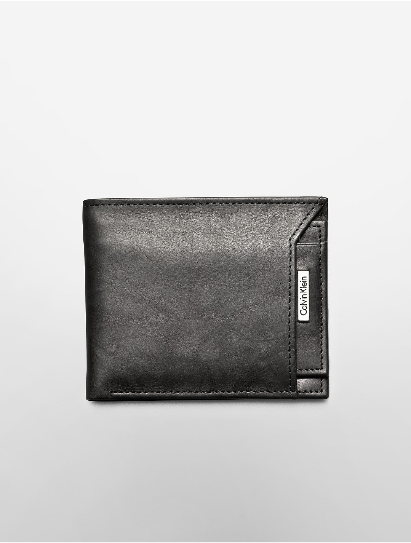 calvin klein leather passcase wallet pullout in black