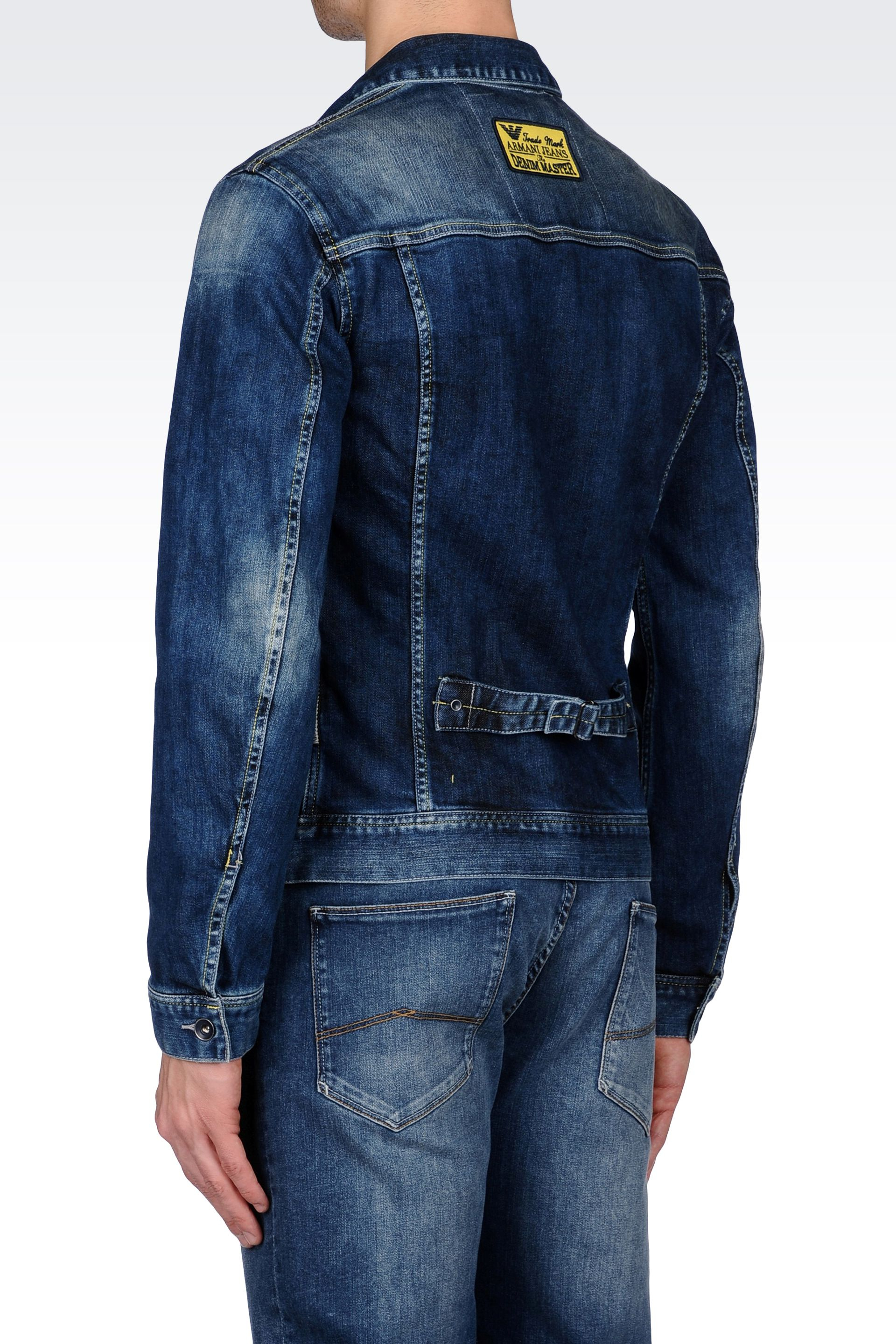 lyst armani jeans jacket in medium wash denim in blue. Black Bedroom Furniture Sets. Home Design Ideas