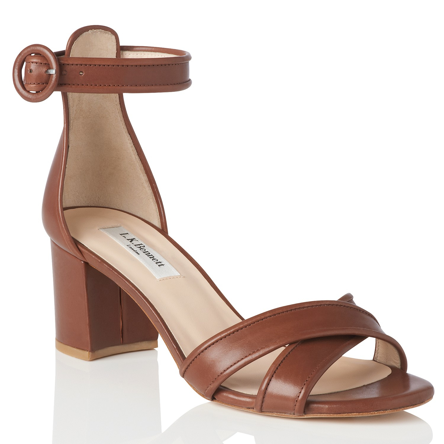 L K Bennett Aniki Block Heel Sandals In Brown Lyst