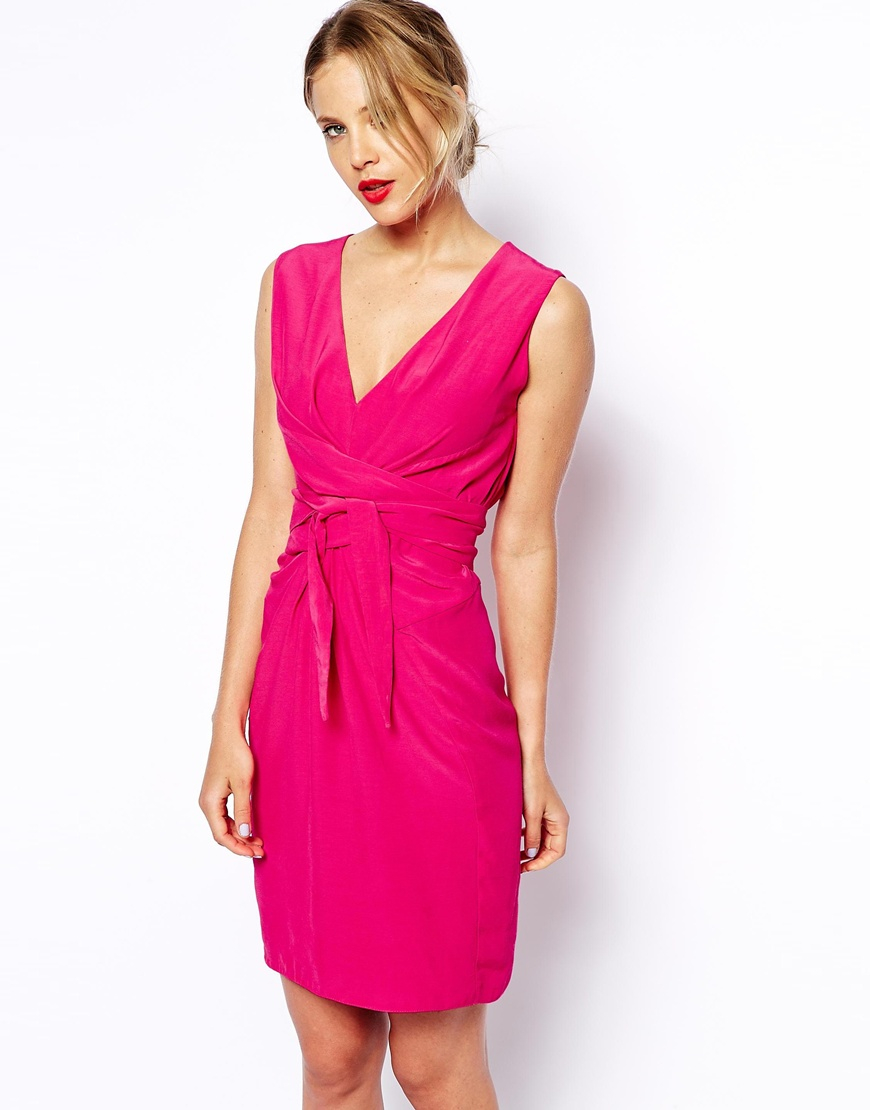 Lyst Asos Tulip Dress With Tie Detail In Pink