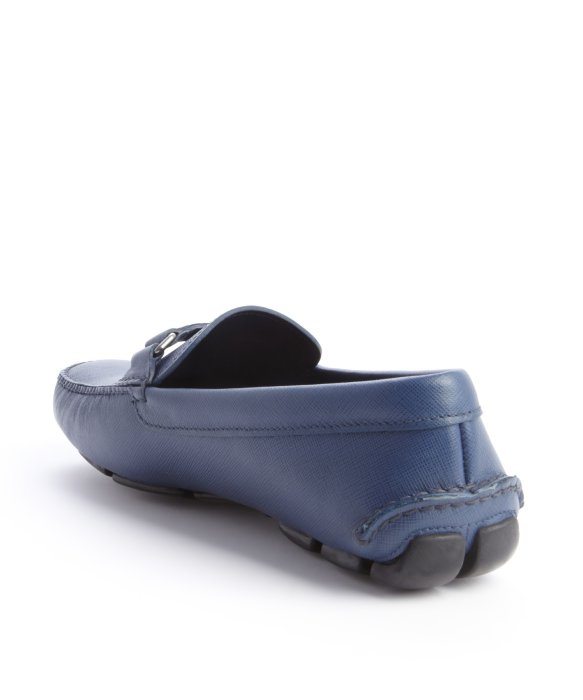 prada small bag - Prada Blue Leather Logo Imprint Penny Strap Loafers in Blue for ...