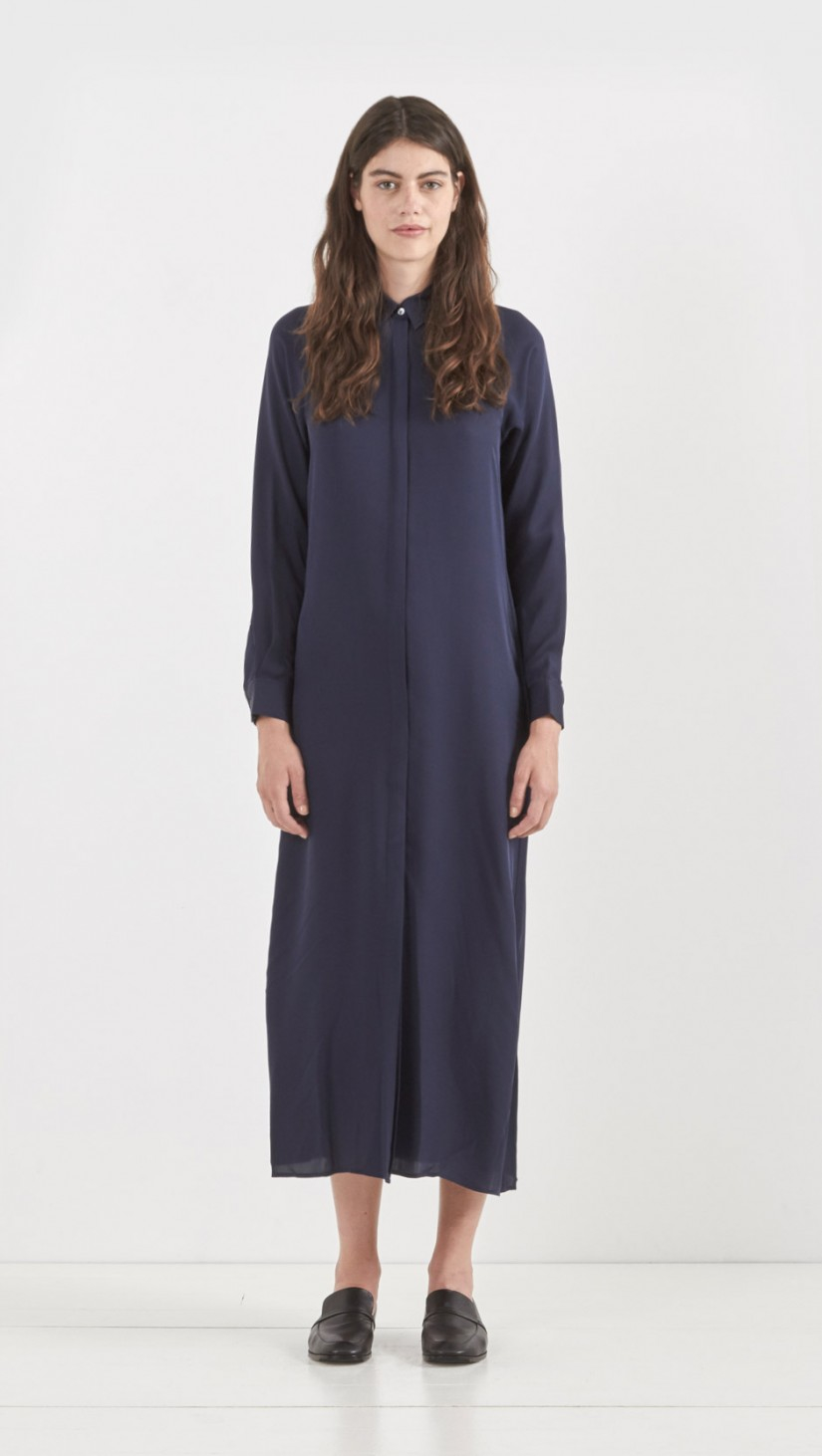lyst theory scenta silk shirt dress in blue