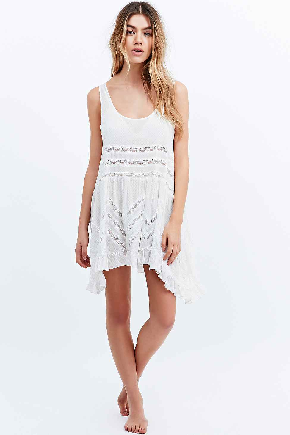 c9a495ed80ce Free People Voile Lace Trapeze Slip Dress In White in White - Lyst