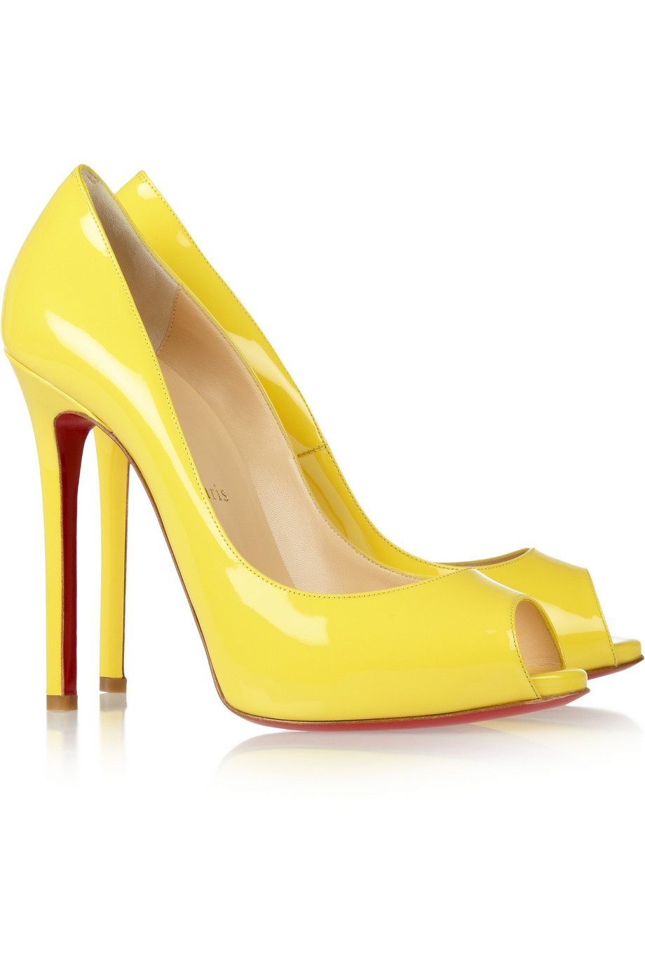 b2be5c32ce5a Lyst - Christian Louboutin Flo 120 Patentleather Peeptoe Pumps in Yellow