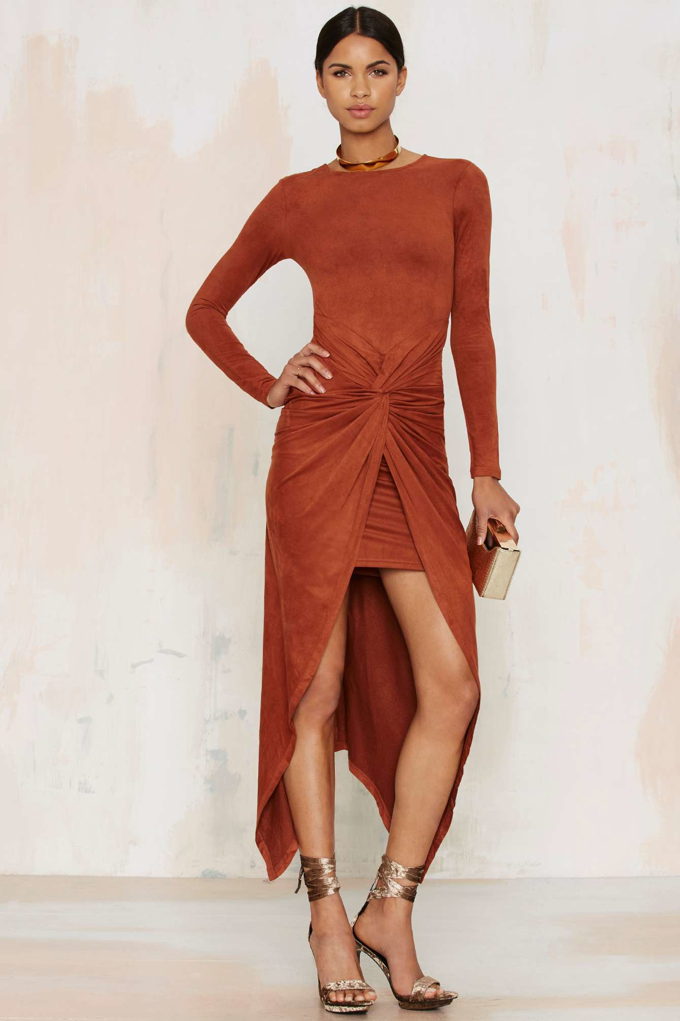 Nasty gal Knot Pursuit Vegan Suede Midi Dress in Orange