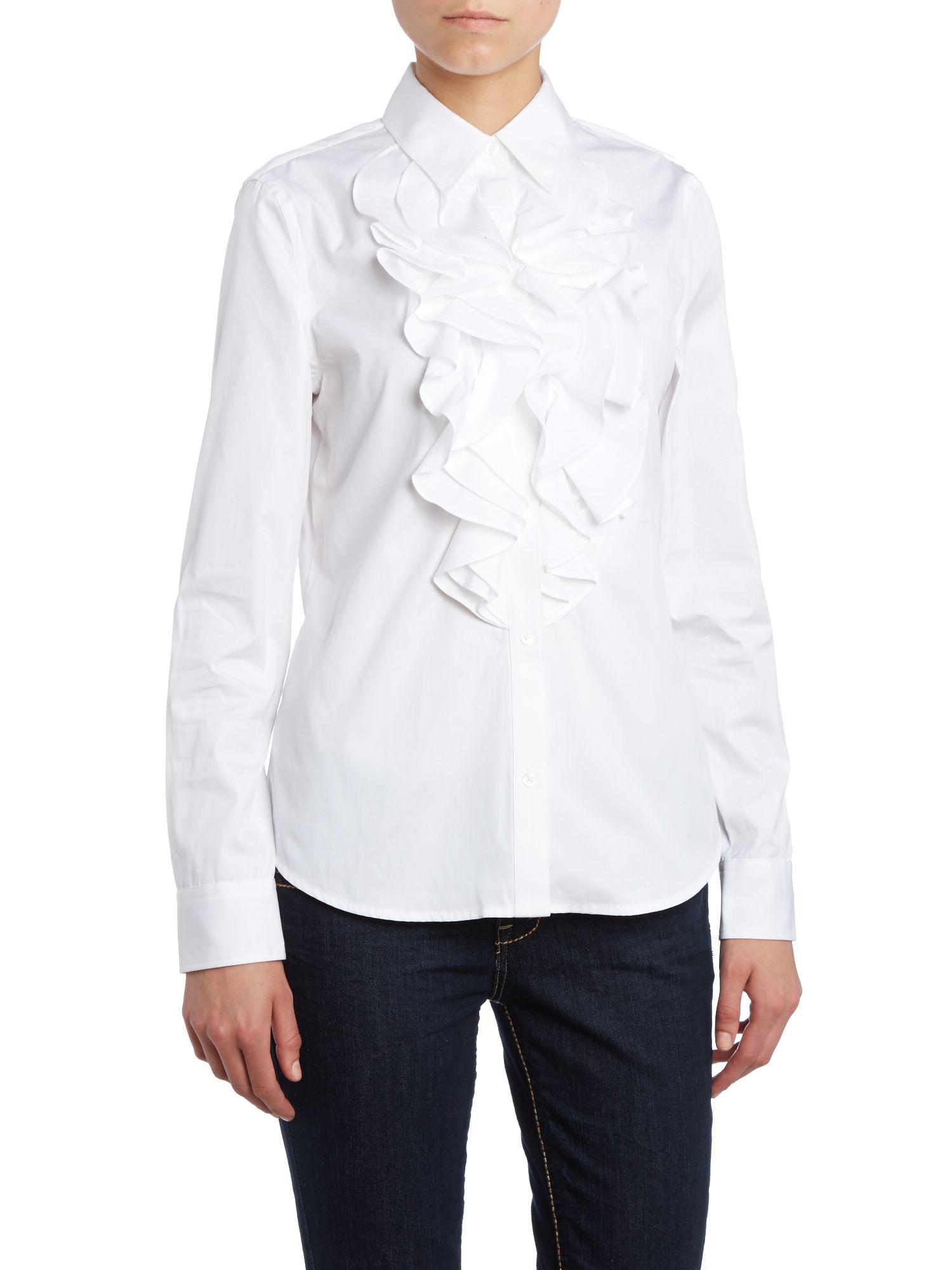 MUVEIL Ruffle-trimmed Cotton-jersey T-shirt in White - Lyst |Ruffle Shirt