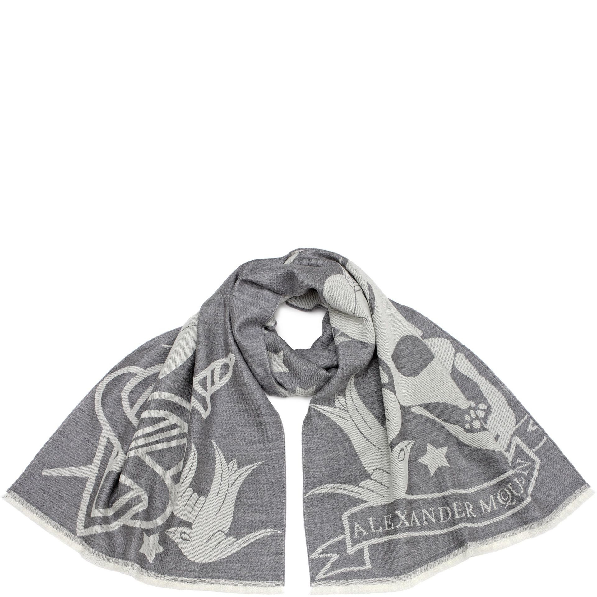 Alexander mcqueen Oversized Tattoo Scarf in Gray for Men ...