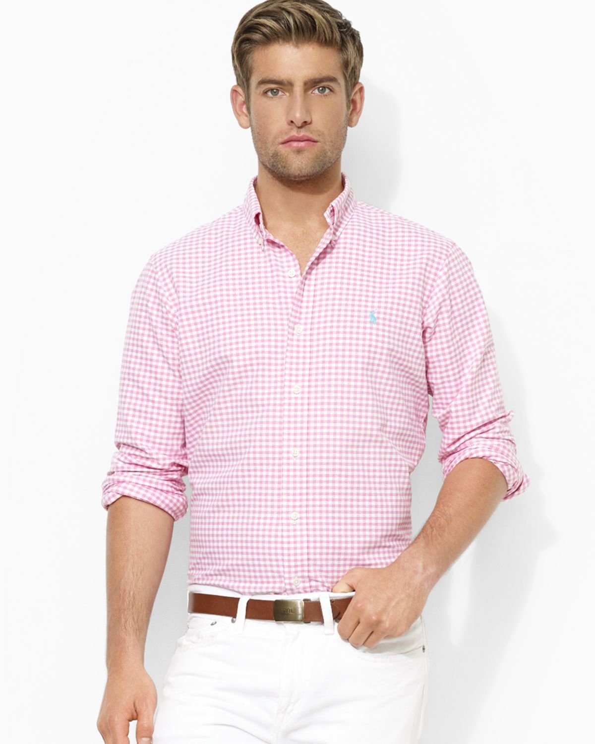 Ralph lauren polo classicfit checked oxford sport shirt in for Pink oxford shirt men