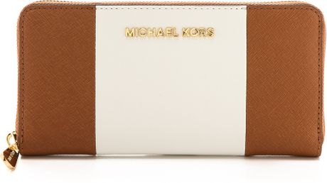 Order Michael Kors Wallets - Accessories Michael By Michael Kors Jet Set Travel Za Continental Wallet Luggagewhiteblack Luggagewhiteblack