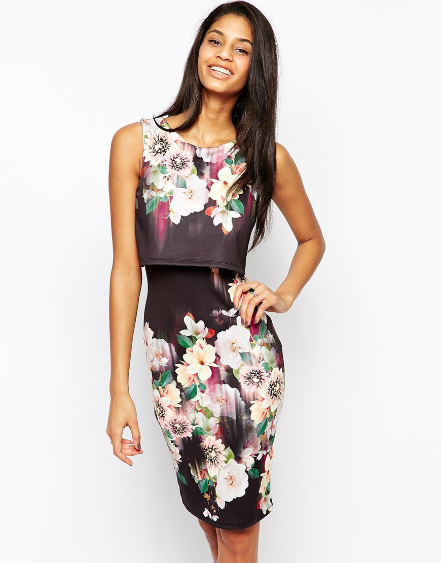 8ec6d1666dc5 Lyst - Lipsy 2 In 1 Floral Printed Bodycon Dress in Black