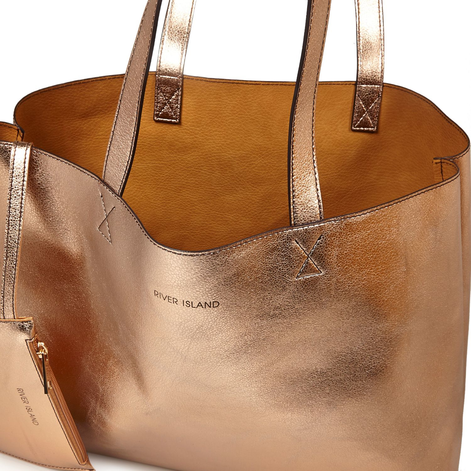 River Island Rose Gold Metallic Reversible Pouch Beach Bag