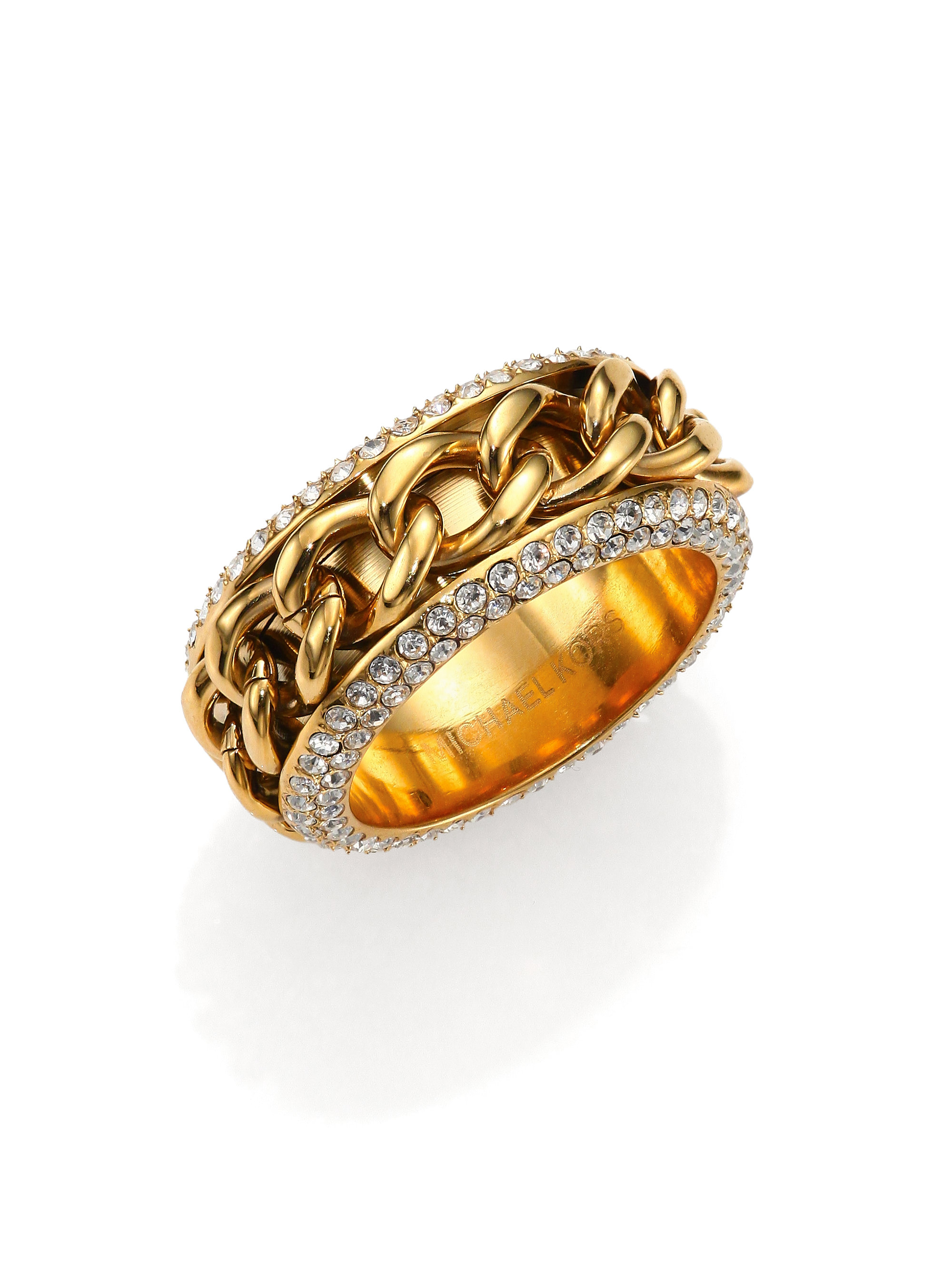 michael kors paveinset frozen curb chain ring in gold lyst
