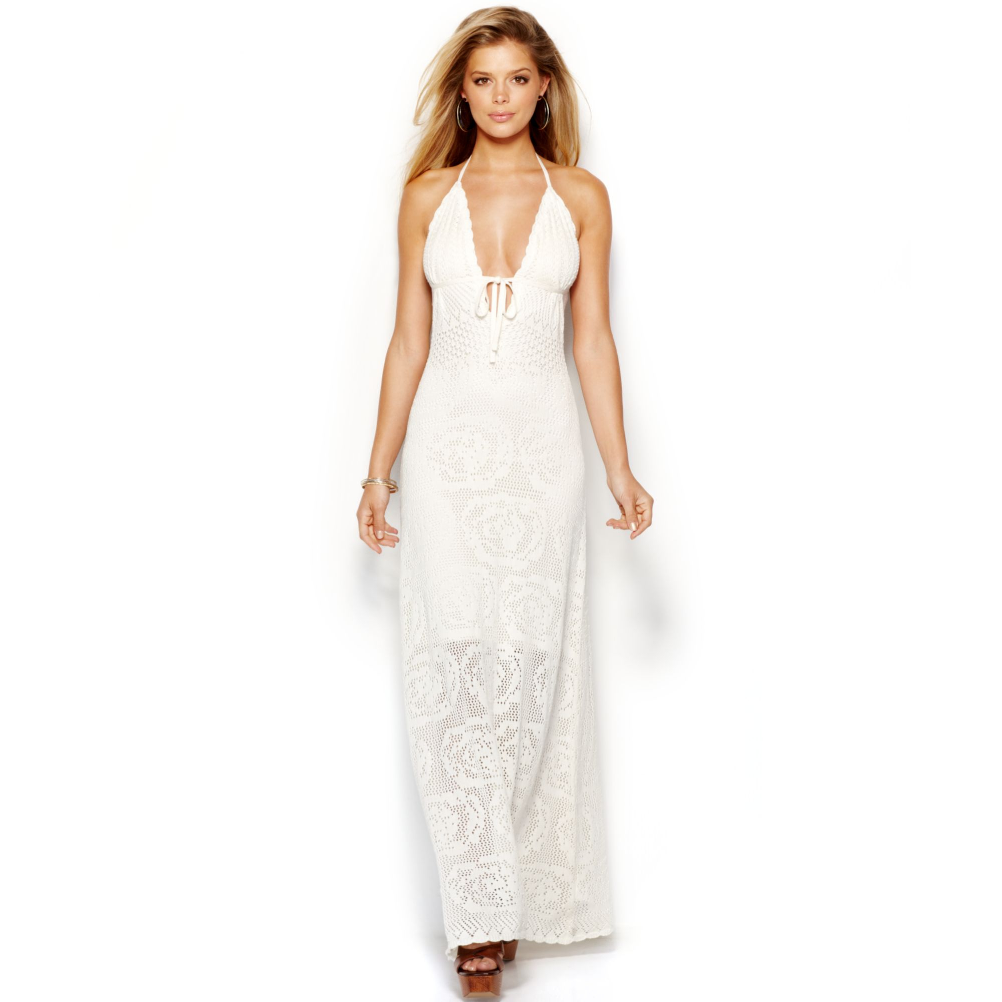 Guess crochet halter maxi dress in white lyst for Guess dresses for wedding