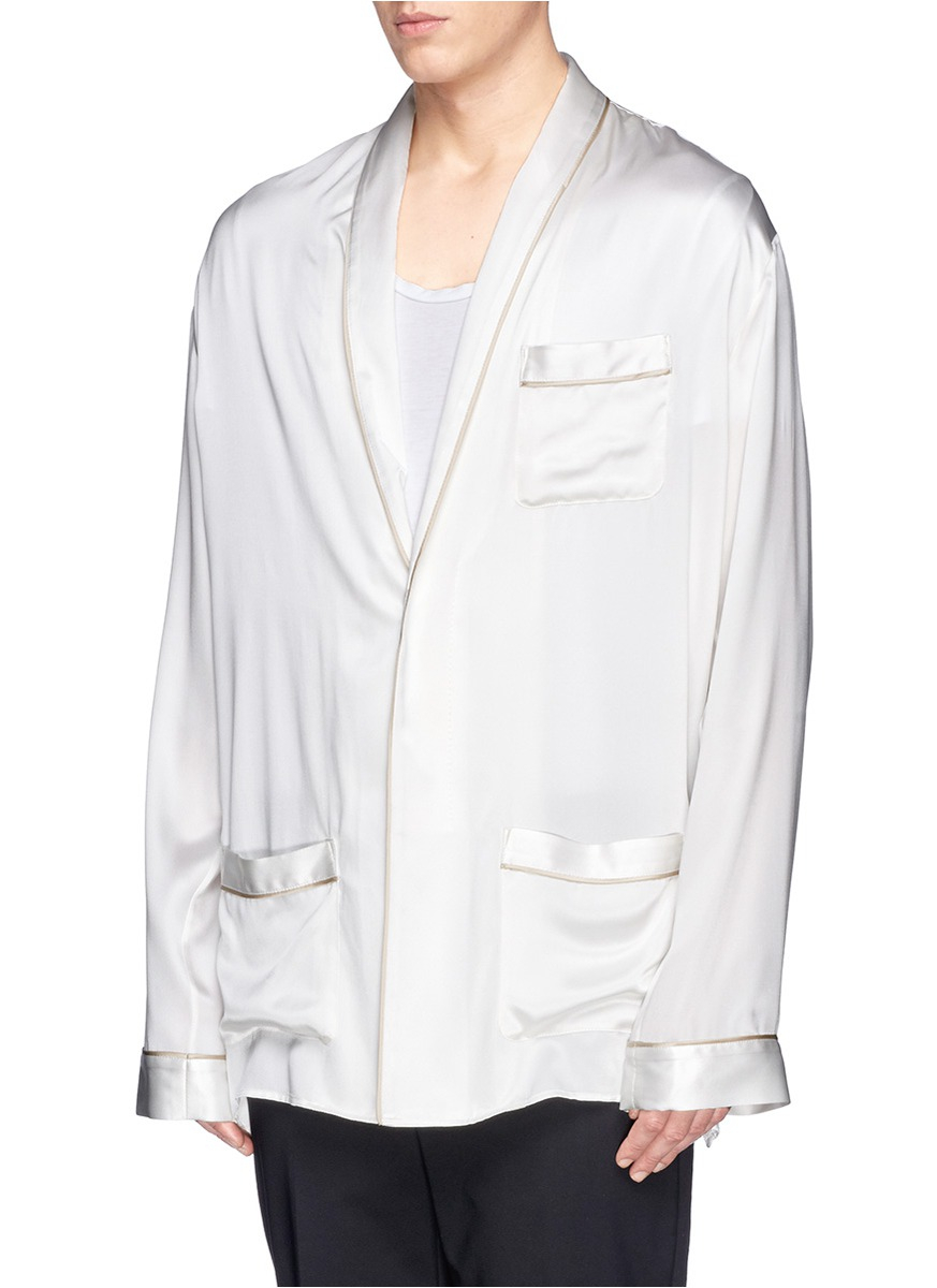Haider Ackermann Shawl Lapel Silk Satin Shirt In White For