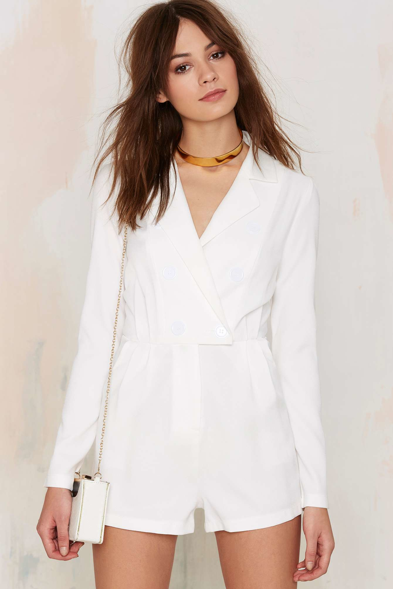 d126e1eb11ff Lyst - Nasty Gal Blazer Of Glory Tux Romper - White in White