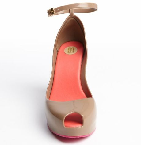 Melissa Tan Rubber Hot Pink Trimmed Patchuli V Wedge