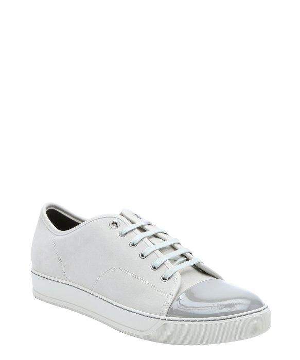 Chaussures De Sport D'orteil De Contraste En Daim Blanc Lanvin rSRqpdUj