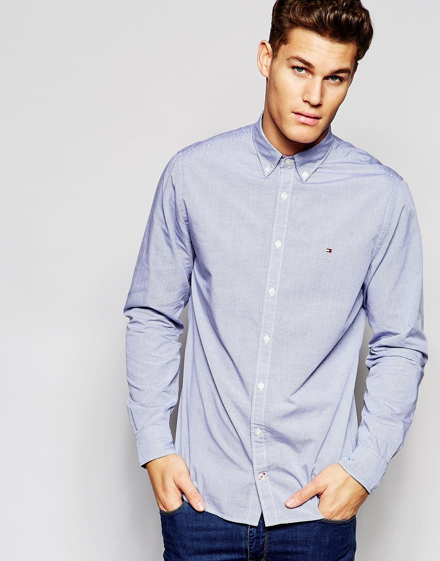 e77179dd7 Tommy Hilfiger Shirt In Fine Horizontal Stripe In New York Regular ...