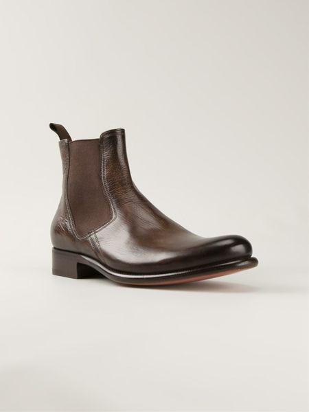 santoni chelsea boots in brown for men lyst. Black Bedroom Furniture Sets. Home Design Ideas