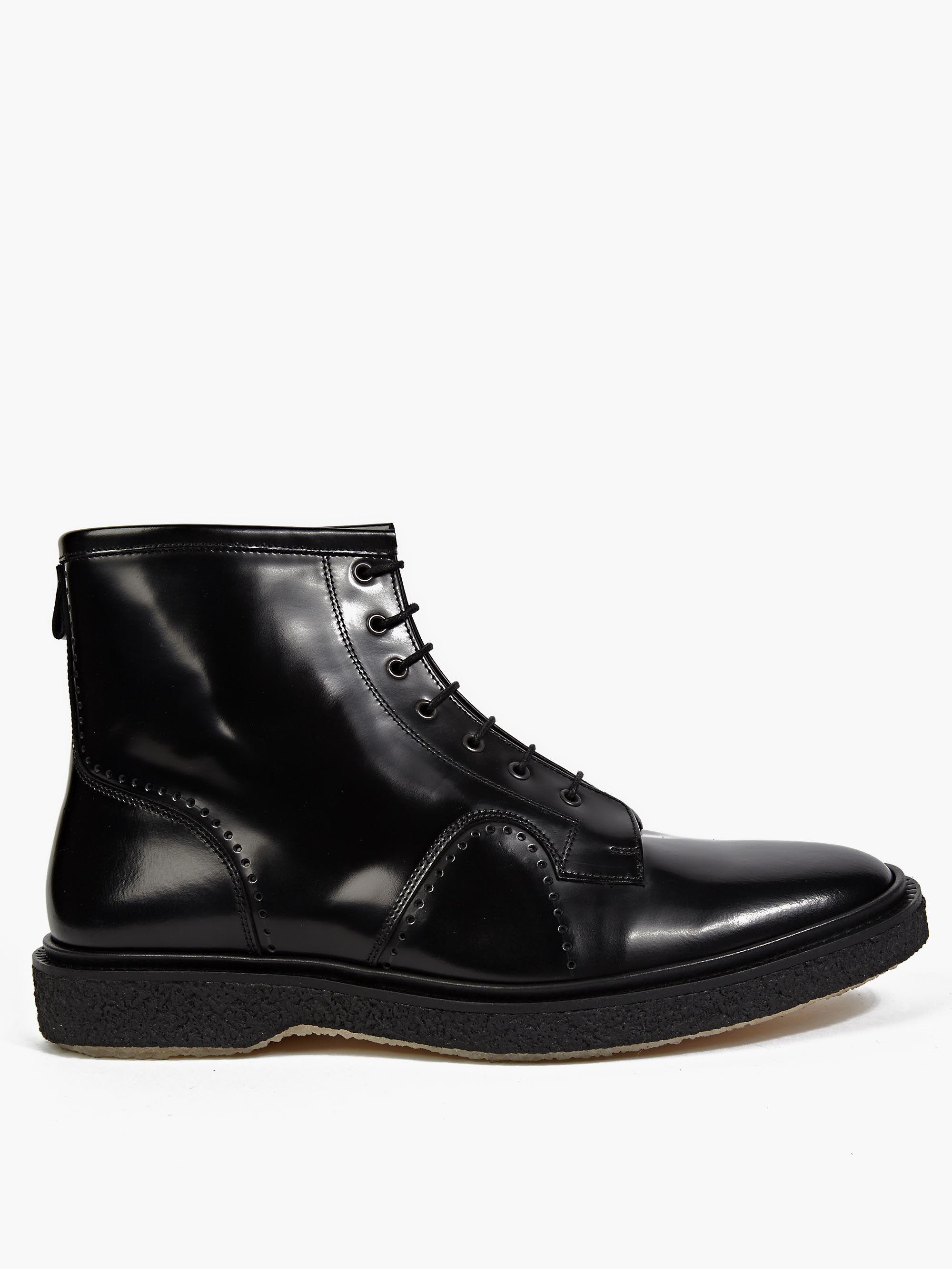 adieu black leather type 22 lace up boots in black for