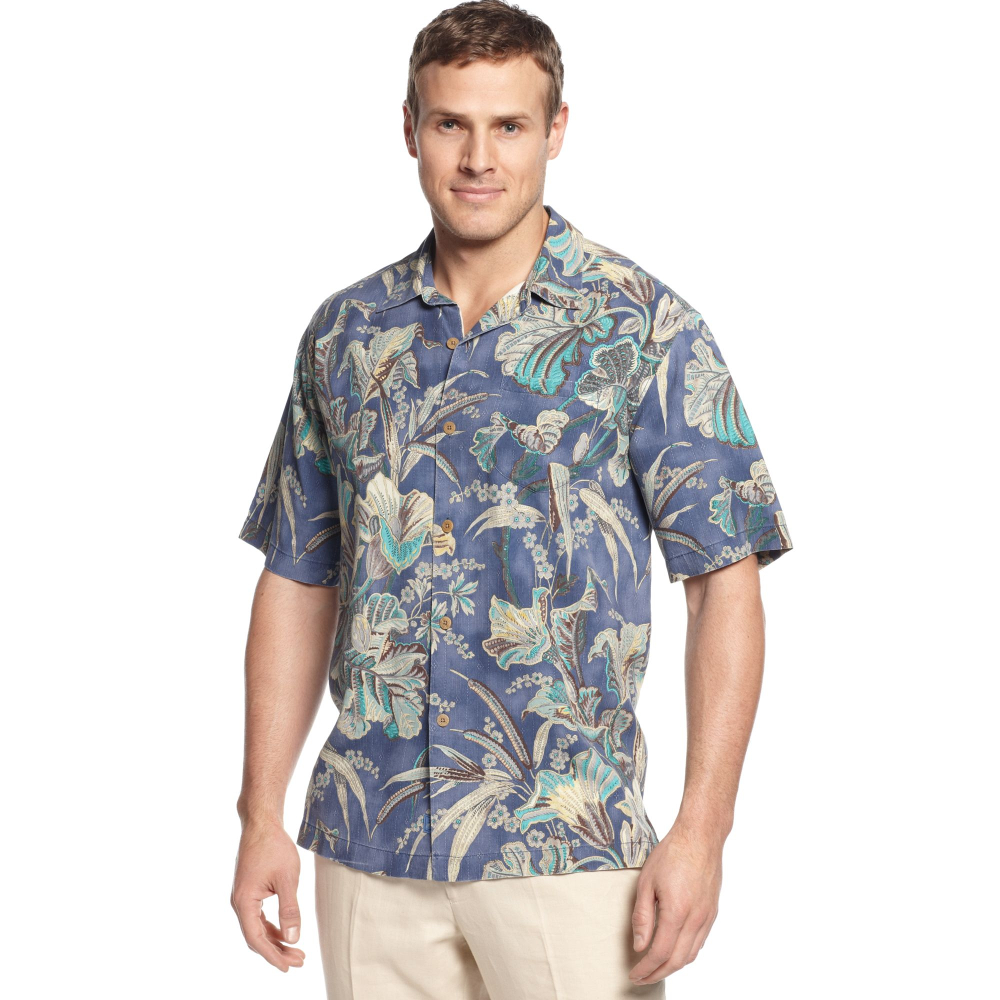 Tommy bahama big and tall silk botanica bay shirt in blue for Tommy bahama christmas shirt 2014