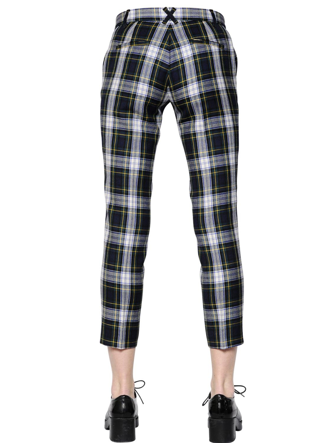 Elegant Each X Other Women39s Green Cropped Plaid Wool Pants
