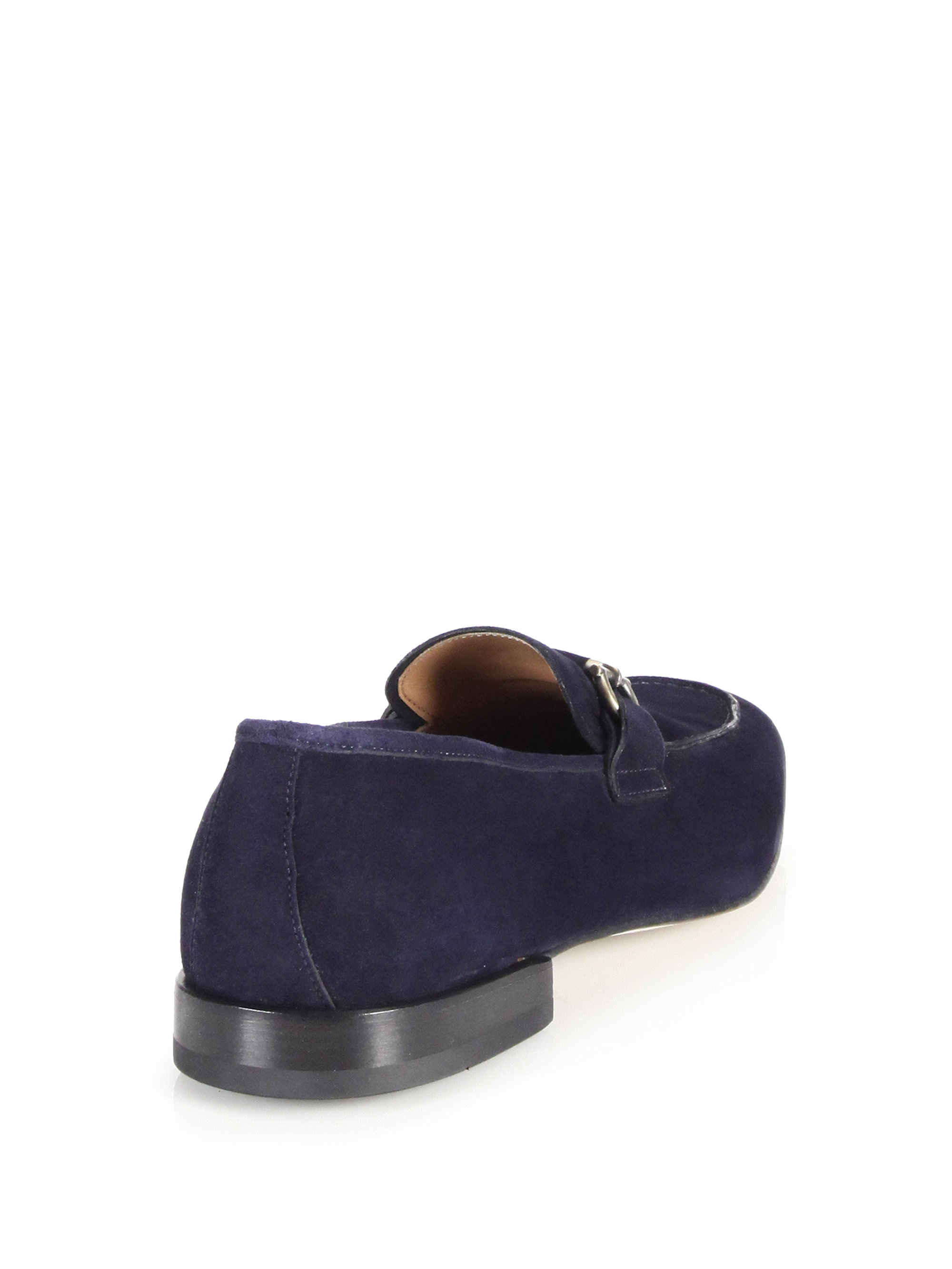 Ferragamo Horsebit Suede Loafers in Blue - Lyst