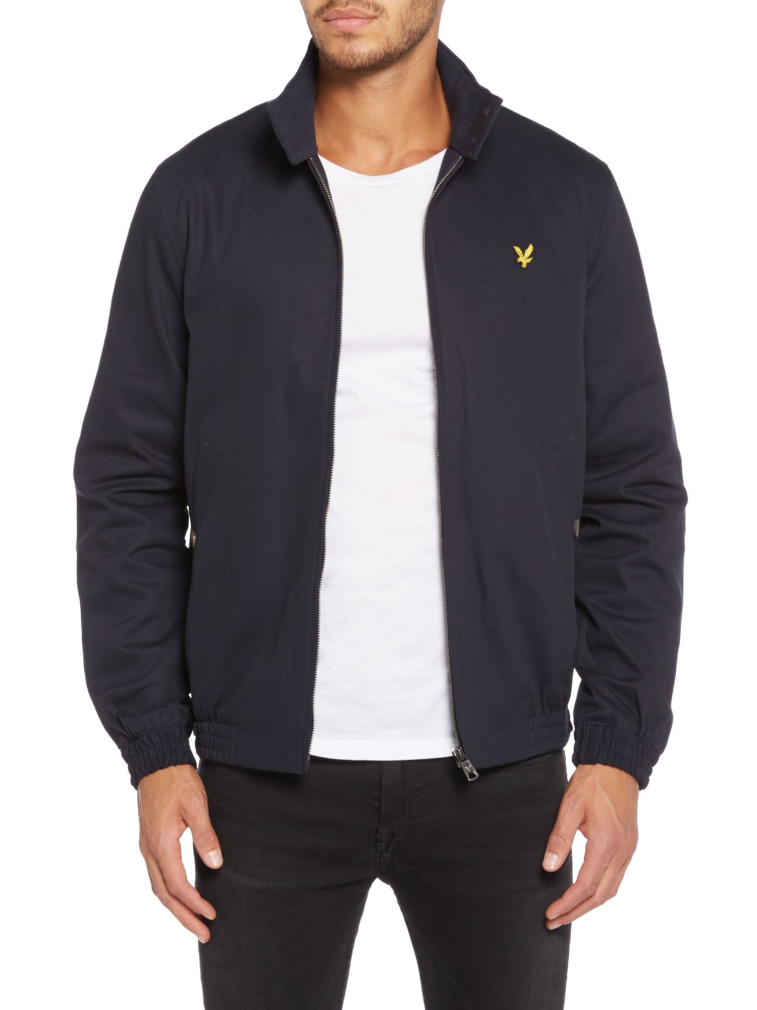 lyle scott casual tartan lined full zip harrington jacket in blue for men navy lyst. Black Bedroom Furniture Sets. Home Design Ideas