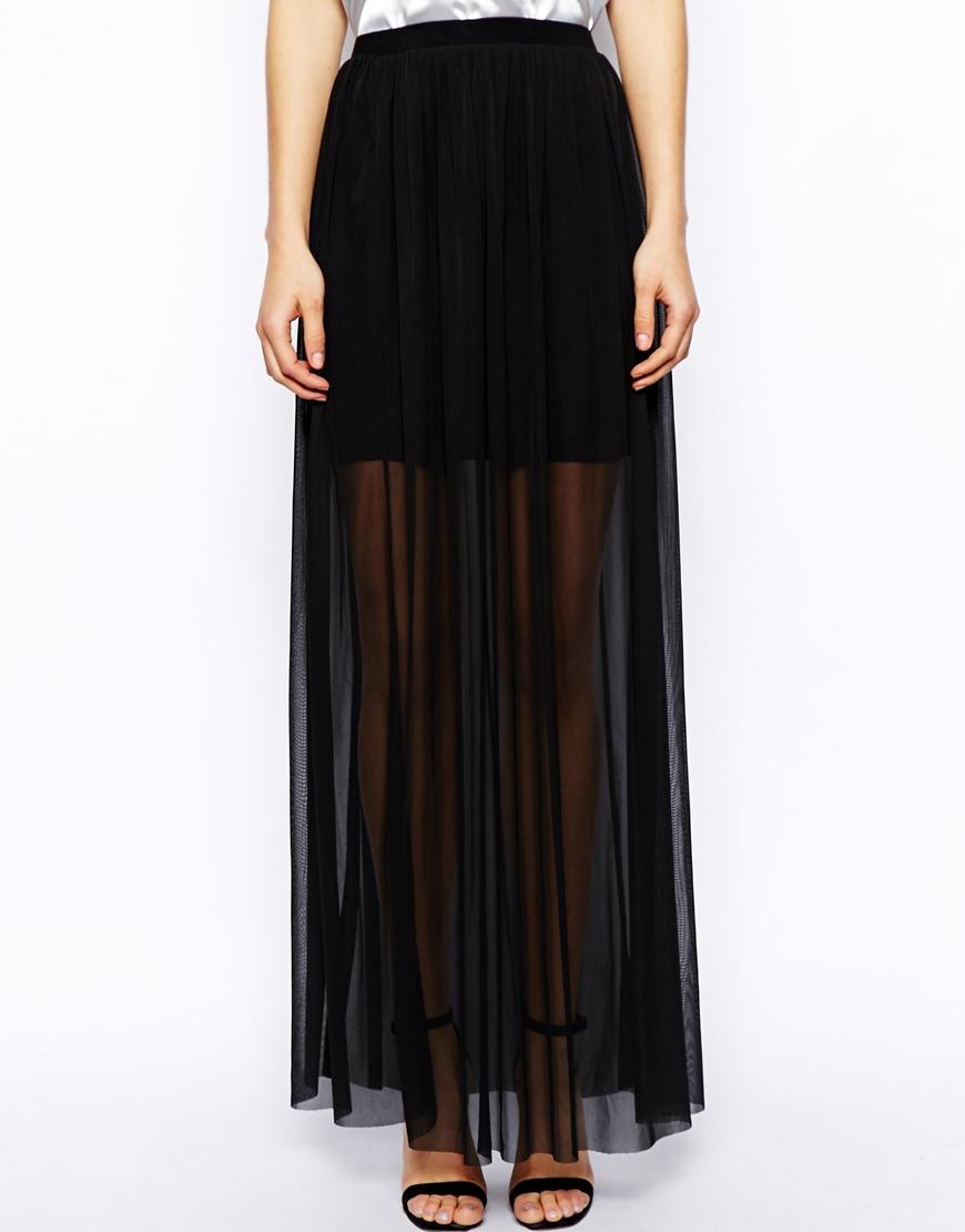 asos maxi skirt in sheer mesh in black lyst