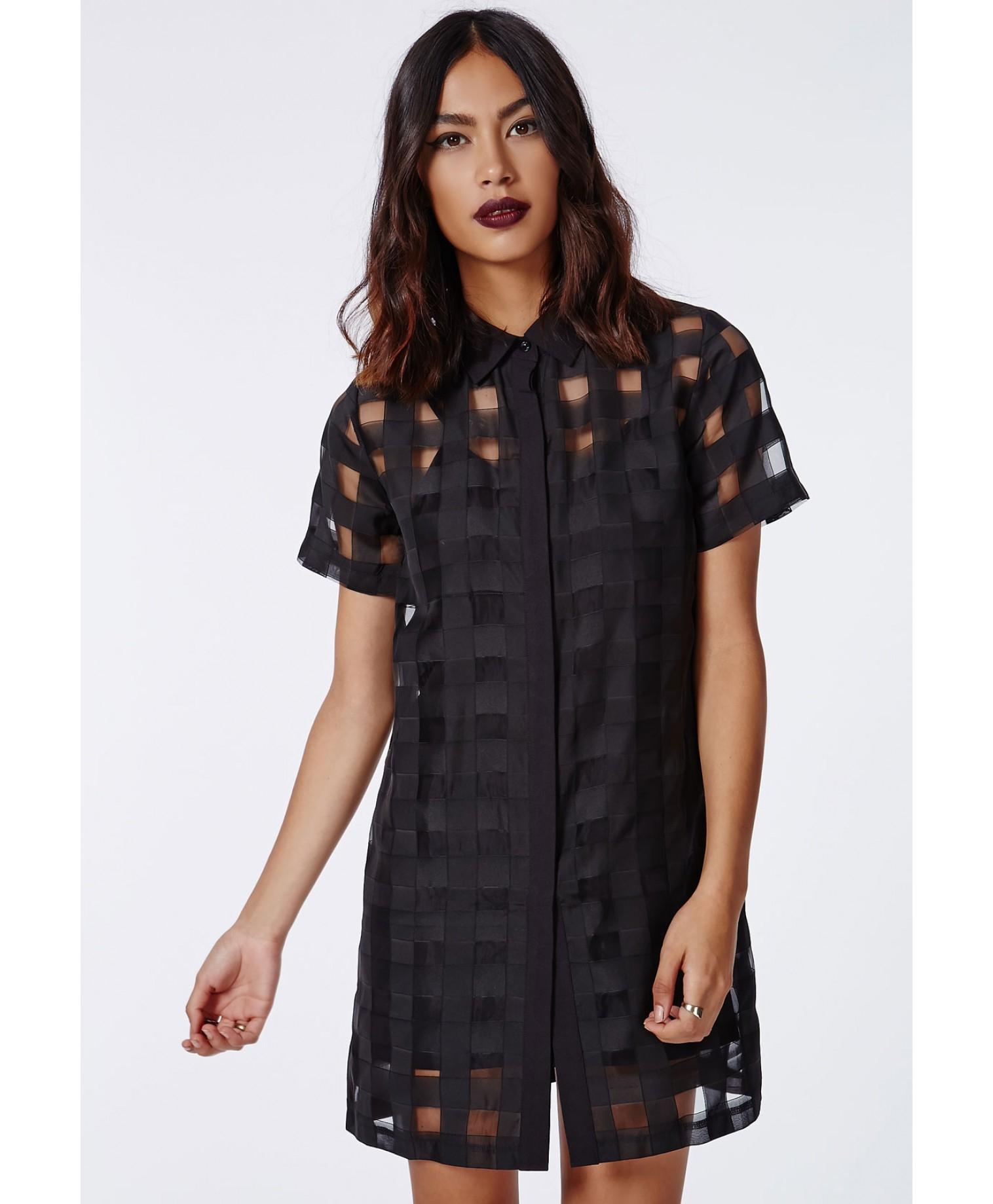 Missguided Jenifry Semi-sheer Check Shirt Dress Black in Black   Lyst