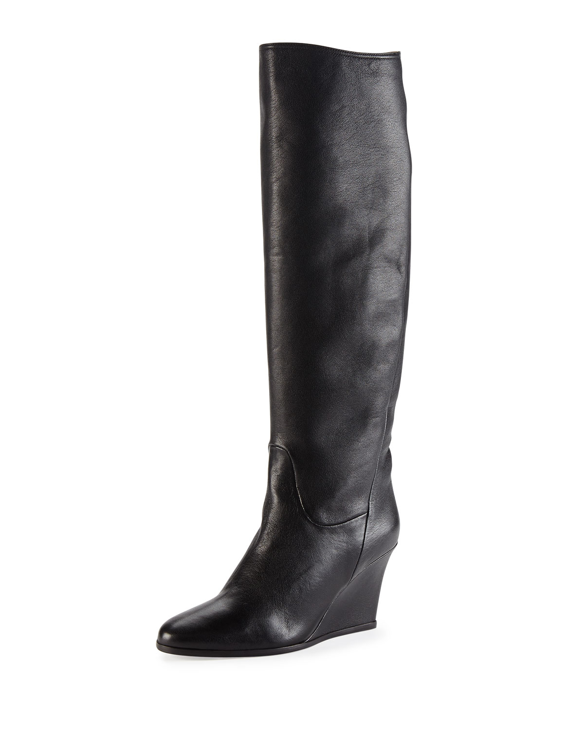lanvin leather wedge knee boot in black lyst